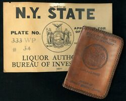 Great 1930and039s Ny Alcoholic Beverage Control Vehicle And039tagand039 And Leather Credential