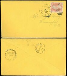 Sep 18 1874 Plattsburgh Ny Cds To Hemmingford Quebec Canada 6andcent Rate Sc 159