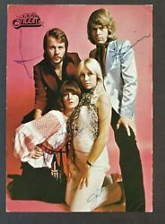 Abba Fully Signed Postcard By Agnetha Bjorn Benny And Anni-frid.