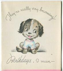 VINTAGE TERRIER PUPPY DOG IN SWEATER HAND COLORED LITHOGRAPH PHOTOGRAVURE CARD