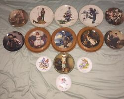 Lot Of 14 Norman Rockwell Collectors Plates From All Different Collections
