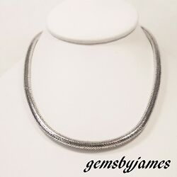 62gr Thick Solid Foxtail Serpentine Chain Necklace 925 Sterling Silver Vtg 15.5