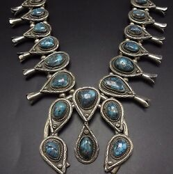 Vintage Navajo Sterling Silver And Bisbee Turquoise Squash Blossom Necklace 269g