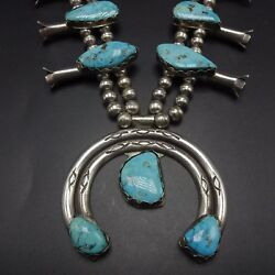 -vintage Navajo Sterling Silver And Blue Moon Turquoise Squash Blossom Necklace