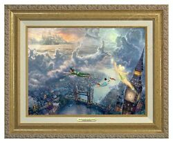 Thomas Kinkade - Tinker Bell And Peter Pan - Canvas Classic Gold Frame