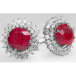 1.70cts Real Diamond 14kts White Gold Ruby Studded Bridal Studs Earring Jewelry