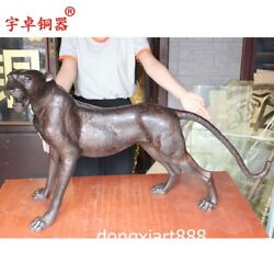 1.2 M Chinese Ancient Pure Bronze Copper Catamount Cougar Leopard Panther Statue
