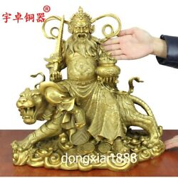 40 Cm Chinese Brass God Of Wealth Fortune Zhao Gongming Mammon Ride Tiger Statue