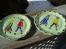 Set Of 2 Old 1950 Ceramic Decorative Wall Plates Amish Boy And Girl