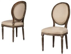 20 W Gaudenzia Dining Chair Hand Carved Weathered Oak Frame Linen Round Back