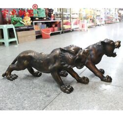 80 Cm Chinese Zodiac Fengshui Animal Bronze Counteract Evil Force Tiger Statue