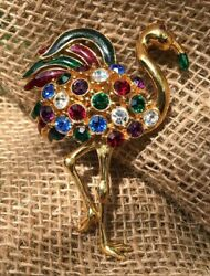 HTF Vintage Signed Trifari Flamingo Brooch Multicolors Jeweled Bling