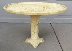 Chinese Scenic Mountain Horse Resin Bone Celluloid Oval Decor Pedestal Table