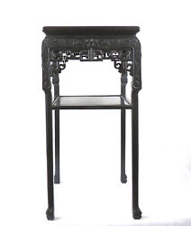 A Large Chinese 19th C Qing Dynasty Blackwood Side Table Marble Top