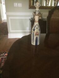 Vintage Large Bohemian Czech Decanter With Stopper blue Hand Painted