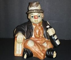 Unique Interpur Hobo Clowns Music Box He Has A Bottle Of Wine Taiwan Made 1988