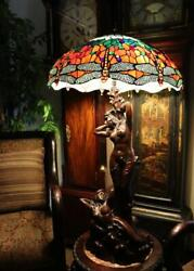 Style Bronze 44 Lamp - Green And Orange Stained Glass Dragonfly Shade