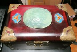 Chinese Enamel Translucent Celadon Green Jade Top Jewelry Wooden Chest Box