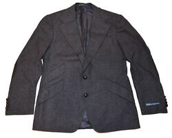 1375 Polo Mens Wool Flannel Blazer Italy Black Charcoal Gray 40s