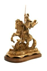 Hand Carve Olive Wood Statue Of St George A Soldier From Greek From Holy Land