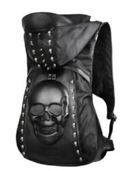 MensWomens Punk Motor Sports Leather Backpacks Casual Bag Skull Hooded Black