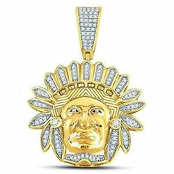 10kt Yellow Gold Mens Round Diamond Native American Indian Chief Charm Pendant