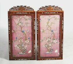 A Large Pair Of Embroidered Silk Panels Mother Of Pearl Frames. Qing Dynasty