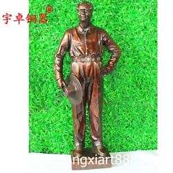 85 Cm China Red Revolution Great Man Chairman Mao Zedong Pure Bronze Bust Statue