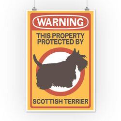 Scottish Terrier - Warning (Art Posters Wood & Metal Signs Canvas Tote Bag)