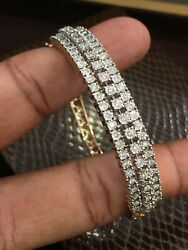 1.05 Cts Round Brilliant Cut Pave Diamonds Hinged Bracelet In 585 Solid 14k Gold