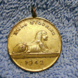 D498.1942 Wwii Xmas Stocking Good Luck Medal From Your Friends In Egypt Sphinx