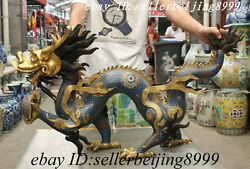 40 Folk Chinese Cloisonne Enamel 24K Gold Palace FengShui Dragon Ball Statue Set