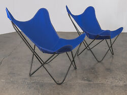 Pair Of Bkf Hardoy Butterfly Chairs For Knoll In Cobalt Blue