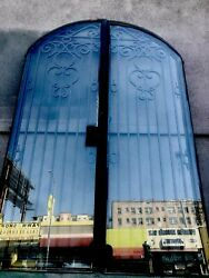 Arched Glass Doors With Iron Entry Set Front Doors 91x58 Total Open
