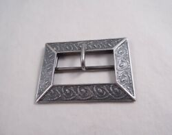 Sterling Silver Union Square Buckle Belt Dress Rare Flowers