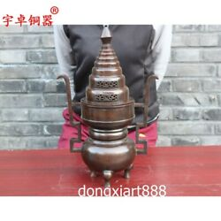 42 Cm Chinese Bronze Copper Double Lug Pagoda Incense Burners Censer Incensory