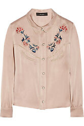 820 Nwt Sold Out Isabel Marant Embroidered Lorenzo Shirt Blouse Antique Rose 38