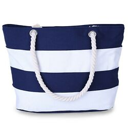 CoreLife Large Canvas Beach Tote Bag with Inner Zipper Pocket and Rope Handle $18.99