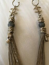 Chinese Jade Marble Dragon Long Chain Silver Earrings New Rare
