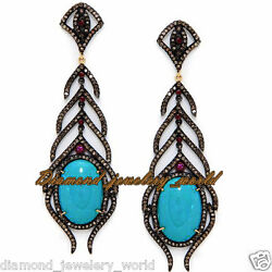 Vintage 4.96cts Rose Cut Diamond Ruby Turquoise Studded Silver Earring Jewellery