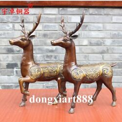 43 Cm China Pure Brass Sika Deer ,spotted Deers Red-crowned Crane Animal Statue