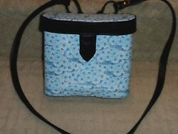 Designer Tracy Binocular Case Crossbody Handbag Black Blue Flower Print Leather