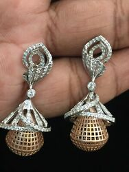Pave 1.07 Cts Round Brilliant Cut Diamonds Dangle Earrings In 585 Solid 14k Gold