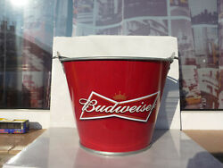 Budweiser Bucket Metal Beer Ice Bar Used Rare For Collectible Red 170 Mm