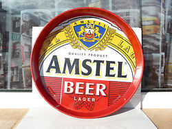 Amstel Lager Beer Tray Metal Tin Red Used Rare