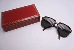 Auth CARTIER SUNGLASSES Vitesse Wood Frame BrownGold Size 58-15 Serial 1266866