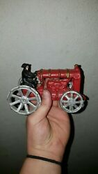 Antique Cast Iron Toy Tractor Ford Red Vintage Farm Toys Very Nice Condition Nr