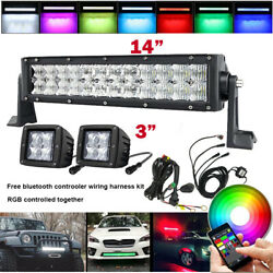 14 Inch 5d Rgb Offroad Led Light Bar + 2x 3 Cube Pods And Bluetooth Wiring Kits