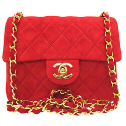 AUTHENTIC CHANEL vintage Mini MatelasseShoulder Bag Red Suede