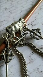 Antique Silver 800 Albert Pocket Watch Chain Old Job Tools Alpine Farmers Cow